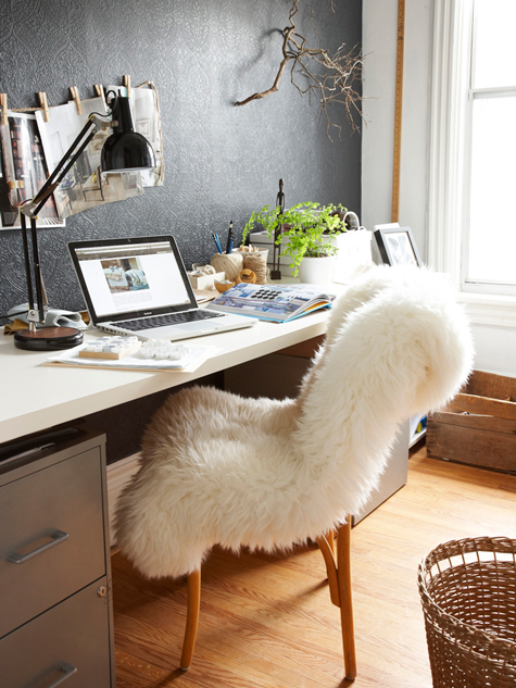 Use A Fluffy Sheepskin On Your Chair For Your Home Office